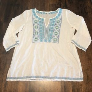 J. Jill Linen Blend Blue Embroidered Blouse